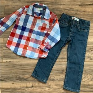LEVIS jeans 3t and CRAZY 8 shirt 3t